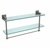 Allied Brass MT-2-22TB-PEW Montero Collection 22 Inch Two Tiered Glass Shelf with Integrated Towel Bar, Antique Pewter