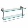 Allied Brass MT-2-22TB-PNI Montero Collection 22 Inch Two Tiered Glass Shelf with Integrated Towel Bar, Polished Nickel