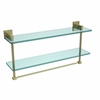 Allied Brass MT-2-22TB-SBR Montero Collection 22 Inch Two Tiered Glass Shelf with Integrated Towel Bar, Satin Brass