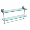 Allied Brass MT-2-22TB-SN Montero Collection 22 Inch Two Tiered Glass Shelf with Integrated Towel Bar, Satin Nickel