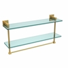 Allied Brass MT-2-22TB-UNL Montero Collection 22 Inch Two Tiered Glass Shelf with Integrated Towel Bar, Unlacquered Brass