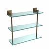 Allied Brass MT-5-16-BBR Montero Collection 16 Inch Triple Tiered Glass Shelf, Brushed Bronze