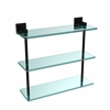 Allied Brass MT-5-16-BKM Montero Collection 16 Inch Triple Tiered Glass Shelf, Matte Black