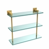 Allied Brass MT-5-16-PB Montero Collection 16 Inch Triple Tiered Glass Shelf, Polished Brass