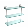 Allied Brass MT-5-16-PC Montero Collection 16 Inch Triple Tiered Glass Shelf, Polished Chrome