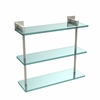 Allied Brass MT-5-16-PNI Montero Collection 16 Inch Triple Tiered Glass Shelf, Polished Nickel