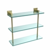 Allied Brass MT-5-16-SBR Montero Collection 16 Inch Triple Tiered Glass Shelf, Satin Brass