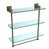 Allied Brass MT-5-16TB-ABR Montero Collection 16 Inch Triple Tiered Glass Shelf with integrated towel bar, Antique Brass