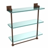 Allied Brass MT-5-16TB-ABZ Montero Collection 16 Inch Triple Tiered Glass Shelf with integrated towel bar, Antique Bronze