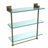 Allied Brass MT-5-16TB-BBR Montero Collection 16 Inch Triple Tiered Glass Shelf with integrated towel bar, Brushed Bronze
