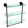 Allied Brass MT-5-16TB-BKM Montero Collection 16 Inch Triple Tiered Glass Shelf with integrated towel bar, Matte Black
