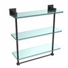 Allied Brass MT-5-16TB-ORB Montero Collection 16 Inch Triple Tiered Glass Shelf with integrated towel bar, Oil Rubbed Bronze