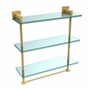 Allied Brass MT-5-16TB-PB Montero Collection 16 Inch Triple Tiered Glass Shelf with integrated towel bar, Polished Brass