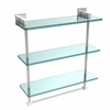 Allied Brass MT-5-16TB-PC Montero Collection 16 Inch Triple Tiered Glass Shelf with integrated towel bar, Polished Chrome