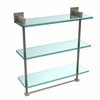 Allied Brass MT-5-16TB-PEW Montero Collection 16 Inch Triple Tiered Glass Shelf with integrated towel bar, Antique Pewter