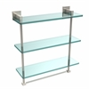 Allied Brass MT-5-16TB-PNI Montero Collection 16 Inch Triple Tiered Glass Shelf with integrated towel bar, Polished Nickel