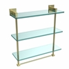 Allied Brass MT-5-16TB-SBR Montero Collection 16 Inch Triple Tiered Glass Shelf with integrated towel bar, Satin Brass