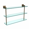 Allied Brass MT-5-22-BBR Montero Collection 22 Inch Triple Tiered Glass Shelf, Brushed Bronze