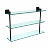 Allied Brass MT-5-22-BKM Montero Collection 22 Inch Triple Tiered Glass Shelf, Matte Black