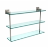 Allied Brass MT-5-22-PNI Montero Collection 22 Inch Triple Tiered Glass Shelf, Polished Nickel