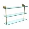 Allied Brass MT-5-22-SBR Montero Collection 22 Inch Triple Tiered Glass Shelf, Satin Brass