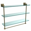 Allied Brass MT-5-22TB-ABR Montero Collection 22 Inch Triple Tiered Glass Shelf with integrated towel bar, Antique Brass