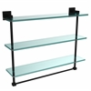 Allied Brass MT-5-22TB-BKM Montero Collection 22 Inch Triple Tiered Glass Shelf with integrated towel bar, Matte Black
