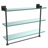 Allied Brass MT-5-22TB-ORB Montero Collection 22 Inch Triple Tiered Glass Shelf with integrated towel bar, Oil Rubbed Bronze