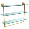 Allied Brass MT-5-22TB-PB Montero Collection 22 Inch Triple Tiered Glass Shelf with integrated towel bar, Polished Brass