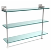 Allied Brass MT-5-22TB-PC Montero Collection 22 Inch Triple Tiered Glass Shelf with integrated towel bar, Polished Chrome