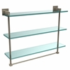 Allied Brass MT-5-22TB-PEW Montero Collection 22 Inch Triple Tiered Glass Shelf with integrated towel bar, Antique Pewter