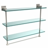 Allied Brass MT-5-22TB-PNI Montero Collection 22 Inch Triple Tiered Glass Shelf with integrated towel bar, Polished Nickel