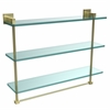 Allied Brass MT-5-22TB-SBR Montero Collection 22 Inch Triple Tiered Glass Shelf with integrated towel bar, Satin Brass