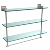 Allied Brass MT-5-22TB-SN Montero Collection 22 Inch Triple Tiered Glass Shelf with integrated towel bar, Satin Nickel