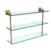 Allied Brass MT-5-22-UNL Montero Collection 22 Inch Triple Tiered Glass Shelf, Unlacquered Brass