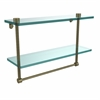 Allied Brass NS-2/16TB-ABR 16 Inch Two Tiered Glass Shelf with Integrated Towel Bar, Antique Brass