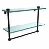 Allied Brass NS-2/16TB-BKM 16 Inch Two Tiered Glass Shelf with Integrated Towel Bar, Matte Black