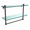 Allied Brass NS-2/16TB-ORB 16 Inch Two Tiered Glass Shelf with Integrated Towel Bar, Oil Rubbed Bronze