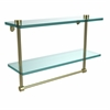 Allied Brass NS-2/16TB-SBR 16 Inch Two Tiered Glass Shelf with Integrated Towel Bar, Satin Brass