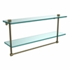 Allied Brass NS-2/22TB-ABR 22 Inch Two Tiered Glass Shelf with Integrated Towel Bar, Antique Brass