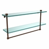 Allied Brass NS-2/22TB-ABZ 22 Inch Two Tiered Glass Shelf with Integrated Towel Bar, Antique Bronze