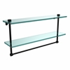 Allied Brass NS-2/22TB-BKM 22 Inch Two Tiered Glass Shelf with Integrated Towel Bar, Matte Black
