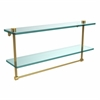 Allied Brass NS-2/22TB-PB 22 Inch Two Tiered Glass Shelf with Integrated Towel Bar, Polished Brass
