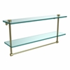 Allied Brass NS-2/22TB-SBR 22 Inch Two Tiered Glass Shelf with Integrated Towel Bar, Satin Brass