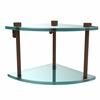 Allied Brass NS-3-ABZ Two Tier Corner Glass Shelf, Antique Bronze