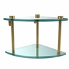 Allied Brass NS-3-UNL Two Tier Corner Glass Shelf, Unlacquered Brass