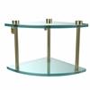 Allied Brass NS-3-SBR Two Tier Corner Glass Shelf, Satin Brass