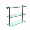 Allied Brass NS-5/16-ABZ 16 Inch Triple Tiered Glass Shelf, Antique Bronze