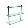 Allied Brass NS-5/16-BKM 16 Inch Triple Tiered Glass Shelf, Matte Black