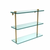 Allied Brass NS-5/16-PB 16 Inch Triple Tiered Glass Shelf, Polished Brass